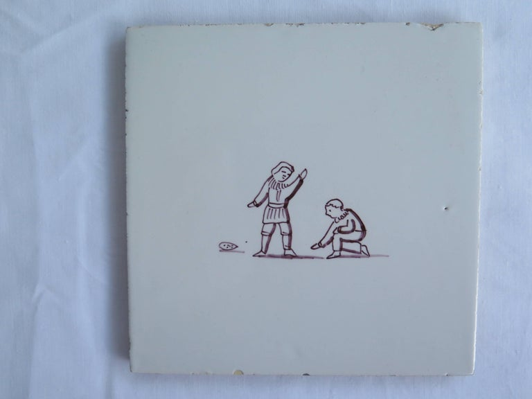 Dutch Seven Delft Ceramic Manganese Wall Tiles Hand painted Children's Games For Sale