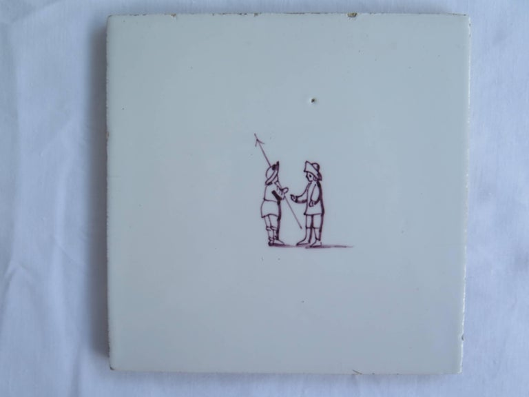 Glazed Seven Delft Ceramic Manganese Wall Tiles Hand painted Children's Games For Sale