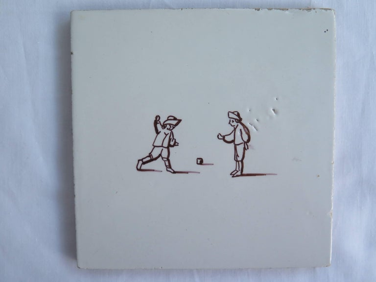 Seven Delft Ceramic Manganese Wall Tiles Hand painted Children's Games In Good Condition For Sale In Lincoln, Lincolnshire