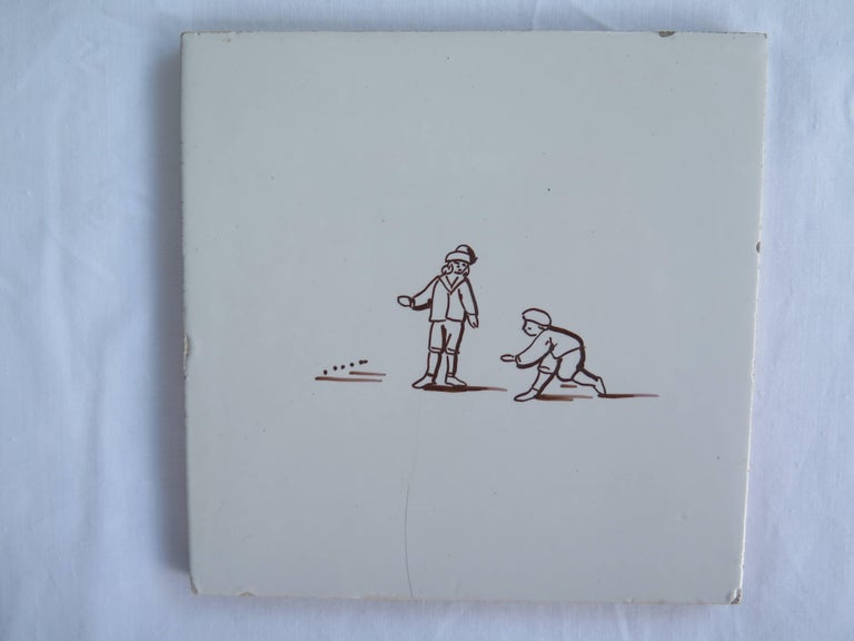20th Century Seven Delft Ceramic Manganese Wall Tiles Hand painted Children's Games For Sale