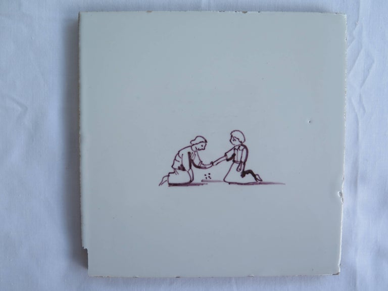 Earthenware Seven Delft Ceramic Manganese Wall Tiles Hand painted Children's Games For Sale