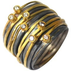 Seven Diamond 18 Karat Gold/Oxidised Silver 'Spaghetti Ring' by Disa Allsopp