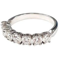 Seven-Diamond 18 Karat White Gold Ring