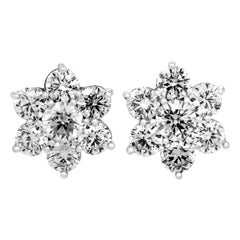 Seven Diamond 3.53 Carat 18 Karat White Gold Cluster Stud Earrings