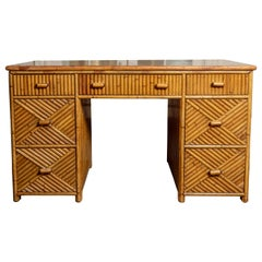 Seven-Drawer Bamboo Desk with Glass Top
