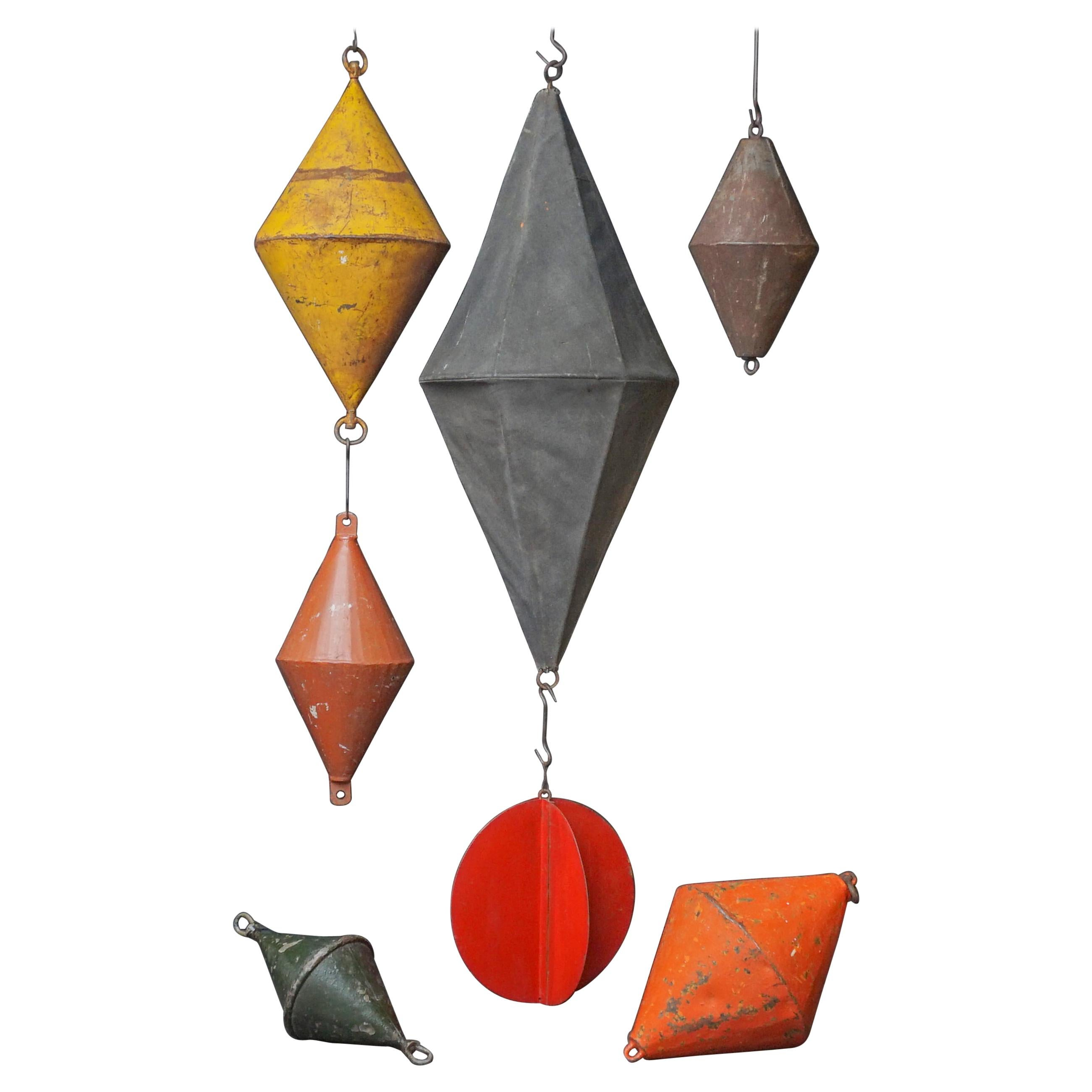 Seven Early 20th Century Dutch Marine Canvas Signal Day Shapes and Metal Buoys