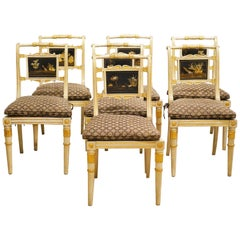Seven English Regency Paint, Gilt and Lacquer Chairs by William Bertram, 19th C.