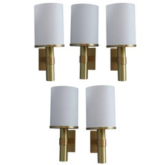 5 Fine French Art Deco Glass and Bronze Cylindrical Sconces by Perzel