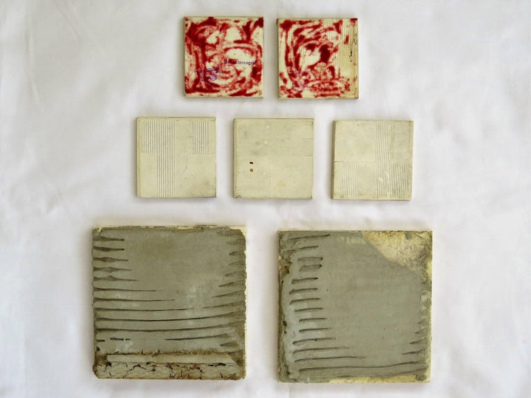 Seven Floral Ceramic Wall Tiles European Hand-Painted, Early / Mid 20th Century For Sale 6