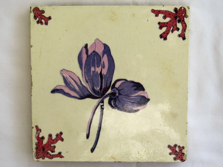 Mid-Century Modern Seven Floral Ceramic Wall Tiles European Hand-Painted, Early / Mid 20th Century For Sale