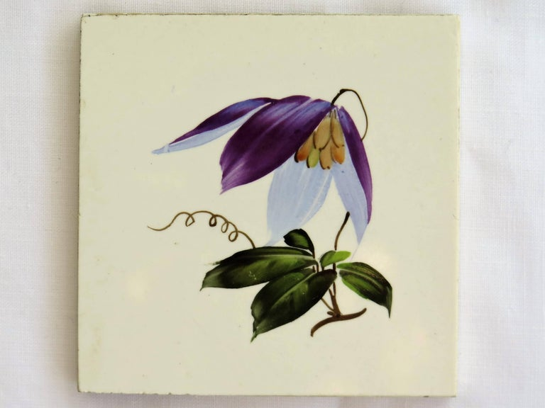 Seven Floral Ceramic Wall Tiles European Hand-Painted, Early / Mid 20th Century For Sale 1