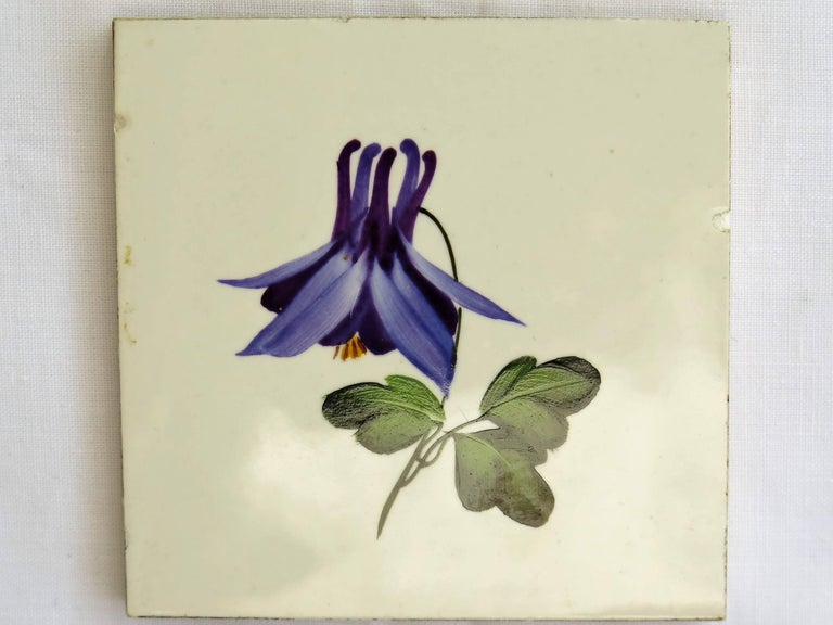 Seven Floral Ceramic Wall Tiles European Hand-Painted, Early / Mid 20th Century For Sale 3