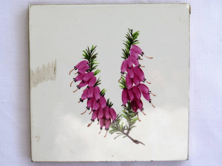 Seven Floral Ceramic Wall Tiles European Hand-Painted, Early / Mid 20th Century For Sale 5