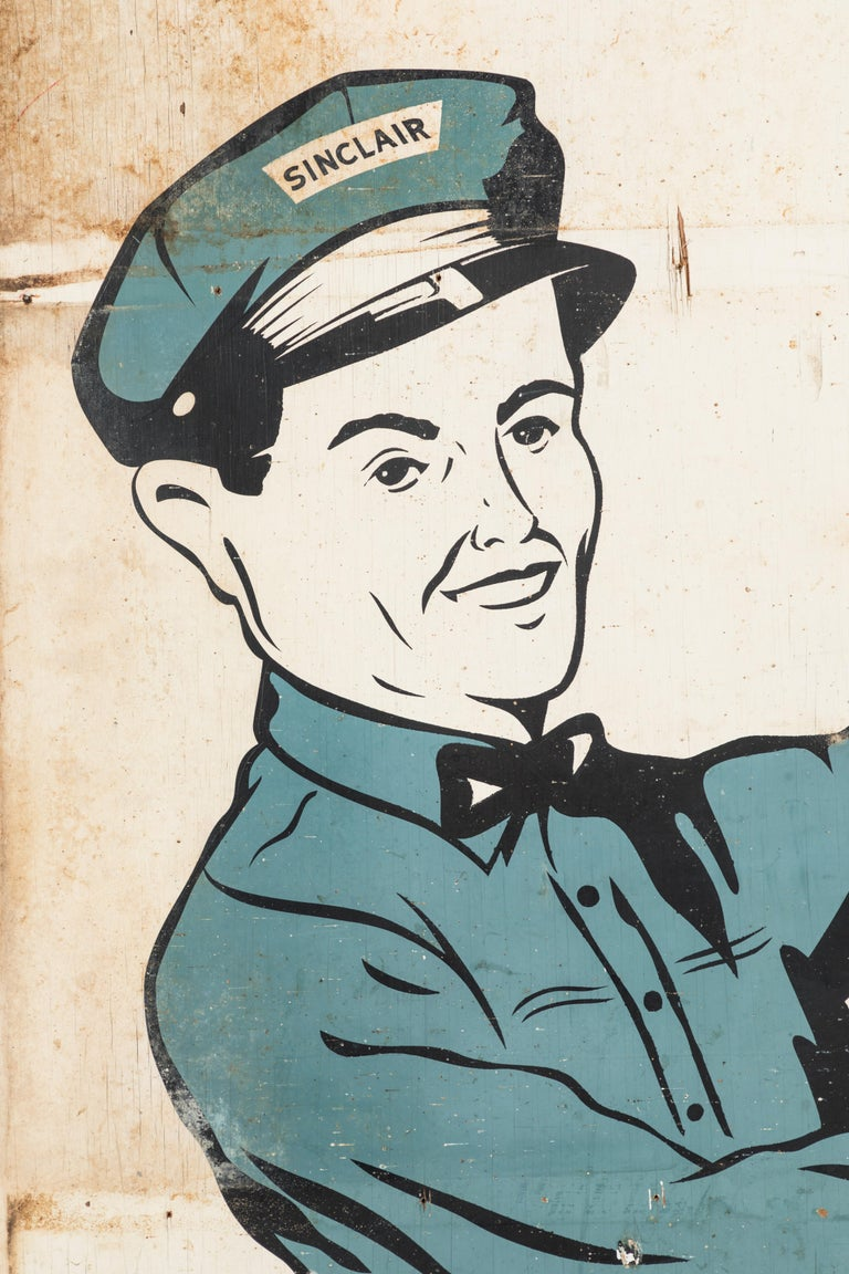 Folk Art 1940s American Sinclair Service Station Roadside Billboard Sign For Sale