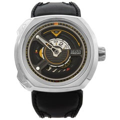 Seven Friday W-Series The Blade Steel Leather Automatic Men's Watch W1/01