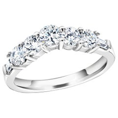 Seven Graduating Round Baguette Diamond Vee Shaped Prong Set Gold Wedding Ring