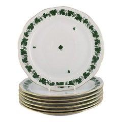 Seven Herend Green Grape Leaf & Vine Dinner Plates in Hand-Painted Porcelain