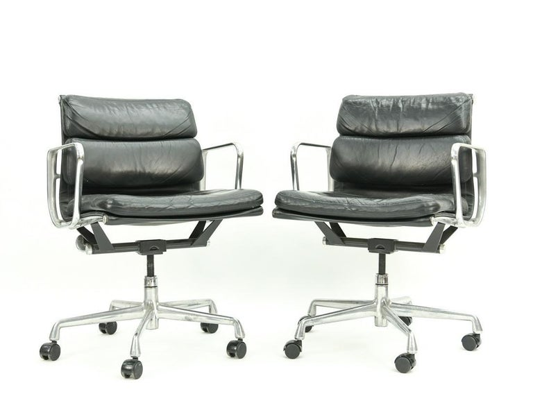 Seven adjustable Herman Miller soft pad office chairs in black leather, great condition. Can be sold individually or as a set, each chair is $2250.