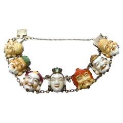Seven Immortal Lucky Gods of Japan Sterling & Porcelain Figural Bracelet c 1950s