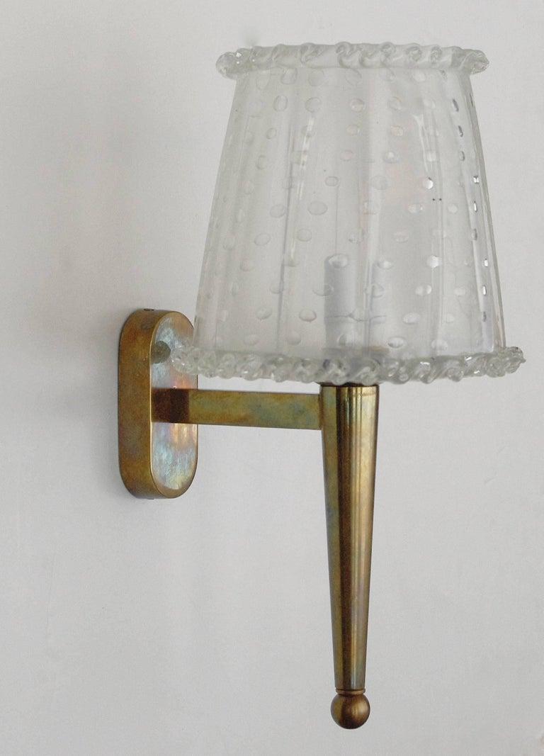 Seven Italian Sconces w/ Clear Murano Glass in Pulegoso Technique, 1960s For Sale 1