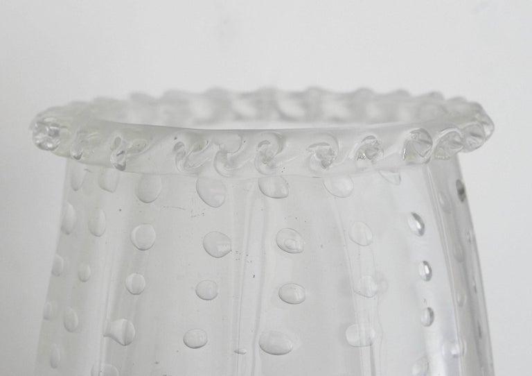 Seven Italian Sconces w/ Clear Murano Glass in Pulegoso Technique, 1960s For Sale 2