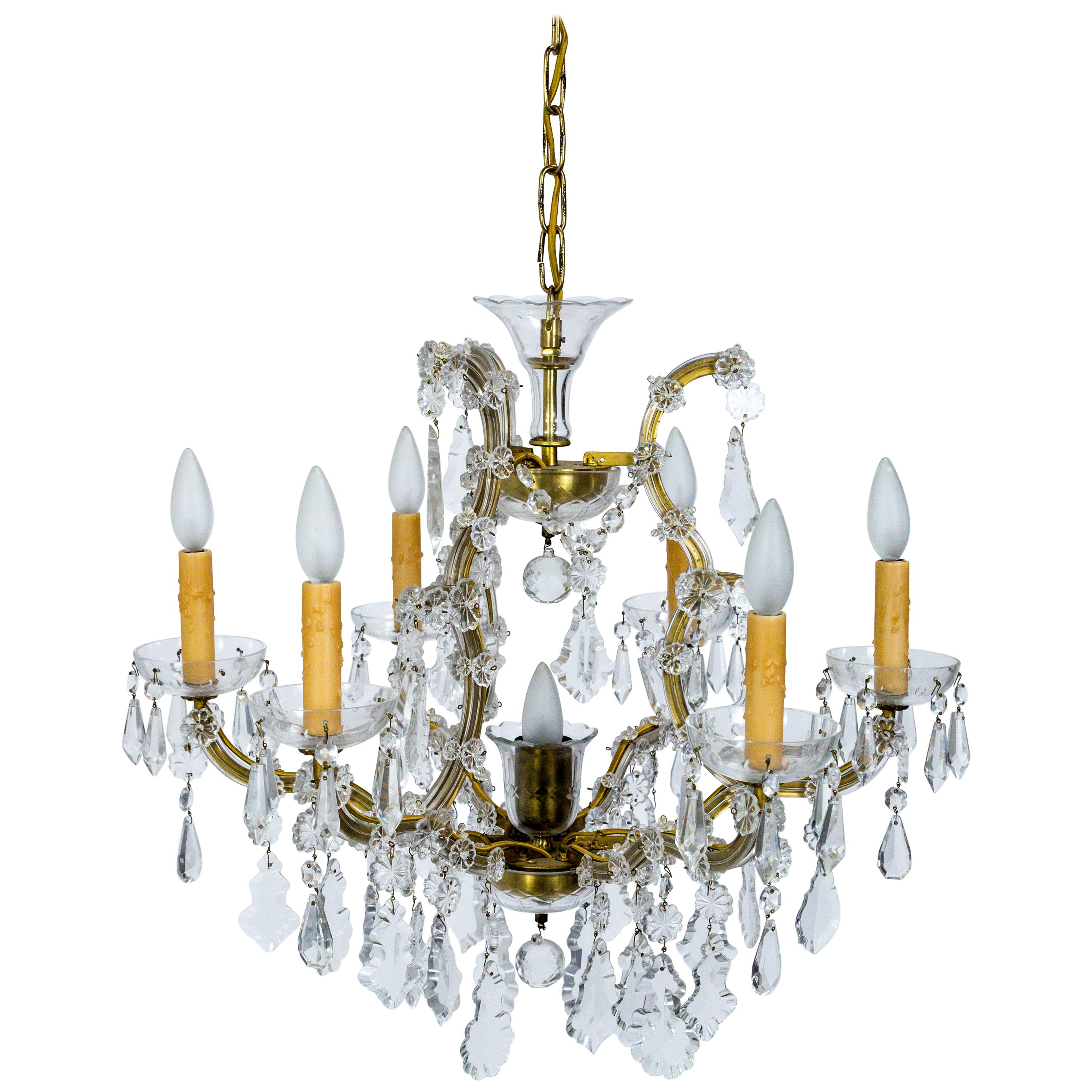 Seven-Light Maria Theresa Style Crystal Chandelier