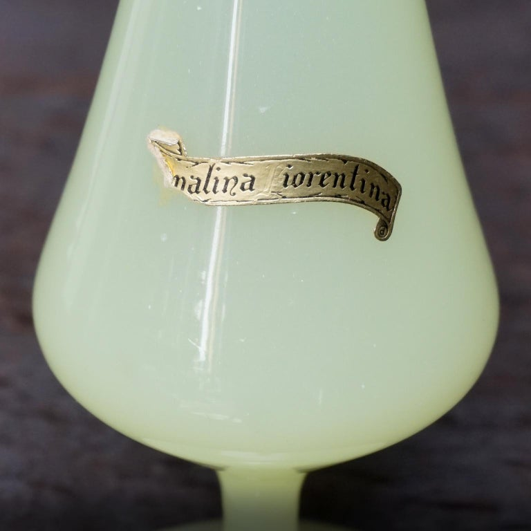 Seven Mid-Century Italian Stelvia Opalina Fiorentina Empoli Blown Glass Vases For Sale 13