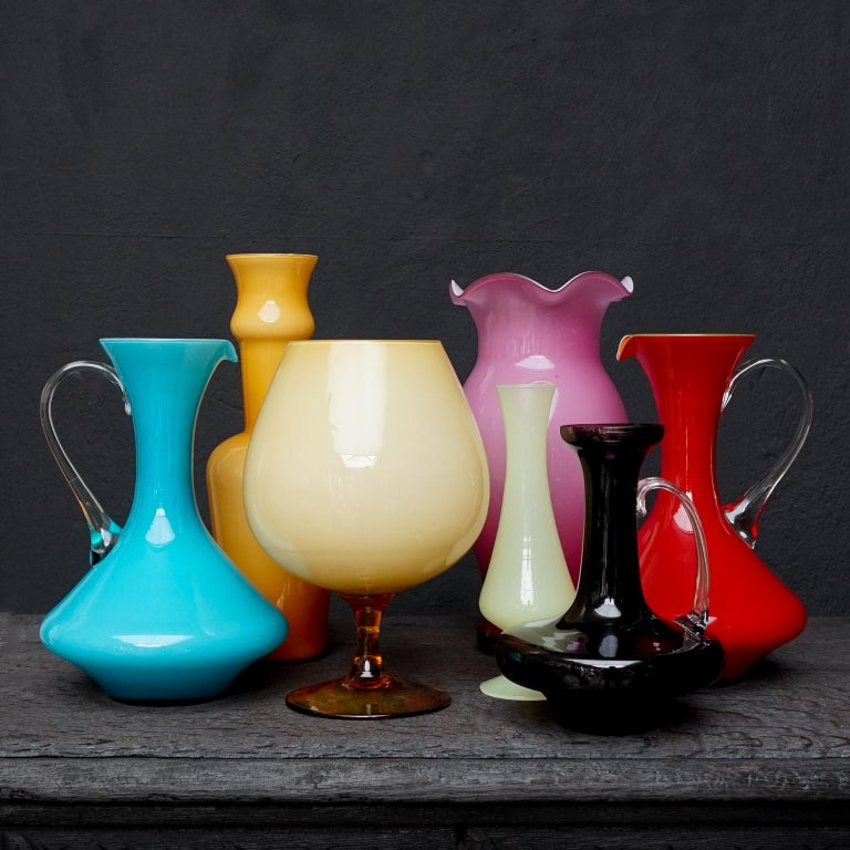 Spectacular set of seven large colourful mid-century Stelvia Opalina Fiorentina glass vases from Empoli, Italy.  Opalina Fiorentina is a style of cased glass from Empoli in the Florence region of Italy  Cased glass means: layers of different