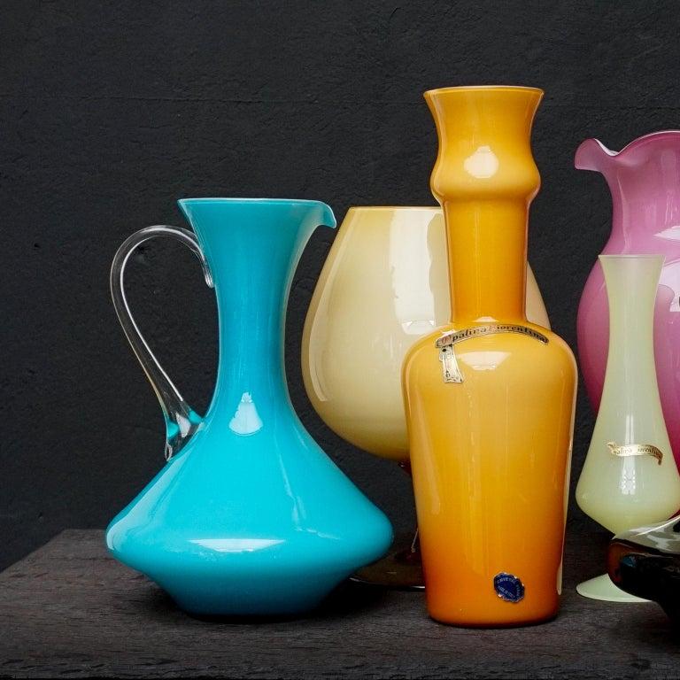 Seven Mid-Century Italian Stelvia Opalina Fiorentina Empoli Blown Glass Vases For Sale 2