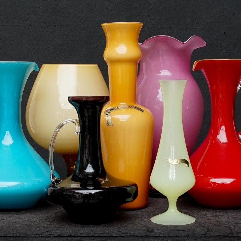 Seven Mid-Century Italian Stelvia Opalina Fiorentina Empoli Blown Glass Vases For Sale 3