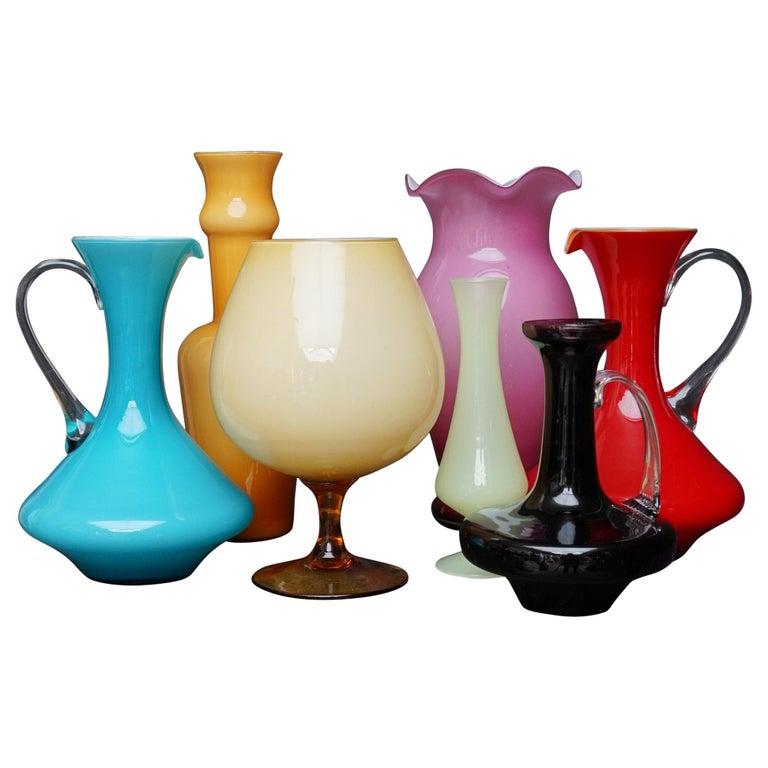 Seven Mid-Century Italian Stelvia Opalina Fiorentina Empoli Blown Glass Vases For Sale
