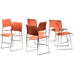 Seven Mid-Century Modern Steel Stackable Dining Chairs 40/4 by David Rowland