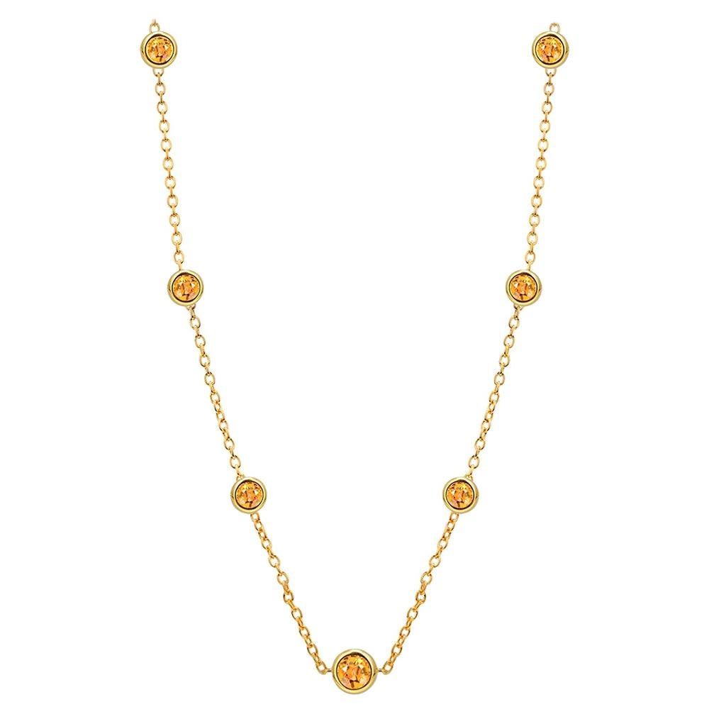 Seven Natural Yellow Sapphires Bezel Necklace Sterling Silver Yellow Gold-Plated