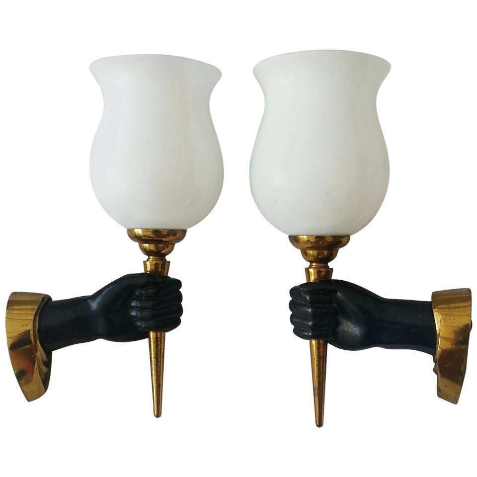 André Arbus pair of  Sconces, 3 pairs Available