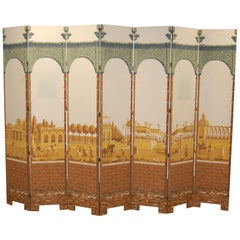 Seven-Panel Folding Screen Featuring Antique Printed Paper, circa 1924