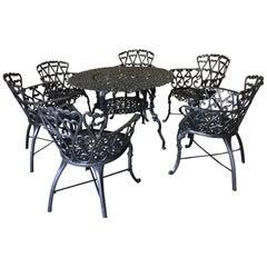 Seven Piece Black Patio Dining Set