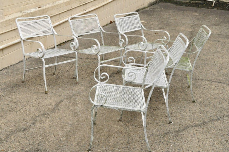 Seven Piece Cast Aluminium Scroll Arm Metal Patio Dining