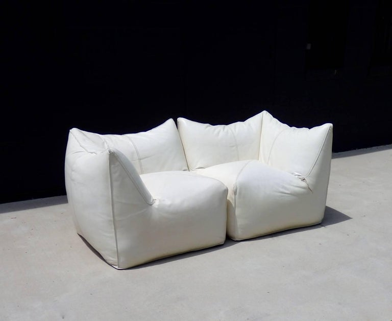 Seven Piece Mario Bellini B&B Italia White Leather Le Bambole Sectional In Good Condition For Sale In Ferndale, MI