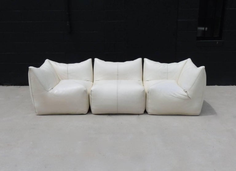 Seven Piece Mario Bellini B&B Italia White Leather Le Bambole Sectional For Sale 2