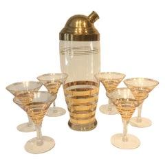 Seven Piece Vintage Gold Band Martini Set, Cocktail Shaker and 6 Stemmed Glasses