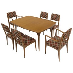 Seven Piece Cerused Oak Dining Room, attributed Paul Laszlo, 2 Extension Boards