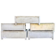 Seven Rectangular Midcentury French Rectangular Planters, Signed Chanal