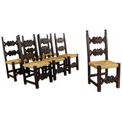 Seven Revival Style Dining Chairs Rush Seats Artes De Mexico Internacionales