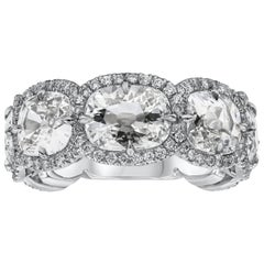 Seven Stone Cushion Cut Diamond Halo Wedding Band
