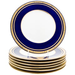 Seven Tiffany Cobalt Blue and Gilt Encrusted Dinner Plates