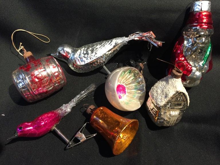 Sieben Vintage Quecksilber Glas Christbaumschmuck Bei 1stdibs
