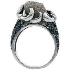 17 Carat Raw Diamond Ring with Black Diamond Pavé Shoulders in Paladium