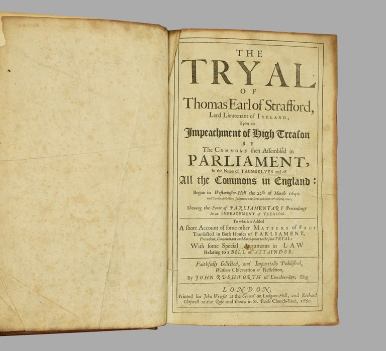 Charles II Seventeenth Century Original Leatherbound Book The Tryal of Thomas Strafford For Sale