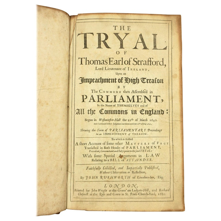 Seventeenth Century Original Leatherbound Book The Tryal of Thomas Strafford For Sale