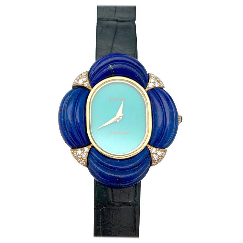 Seventies Chaumet Watch, Diamonds, Lapis Lazuli and Turquoise